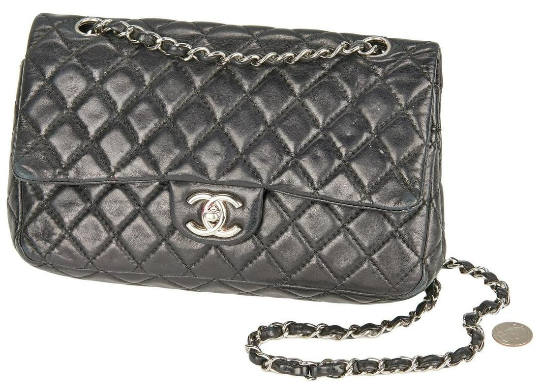Chanel Classic Double Flap Black Quilted Purse, Small