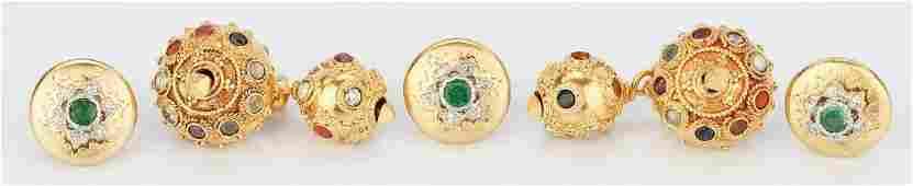 Three 18K Buccellati Button Cuffs & Pr. 18K Multistone