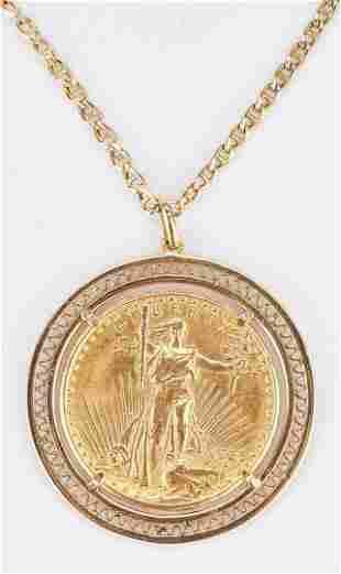 1925 $20 Saint-Gaudens Gold Coin, Mounted