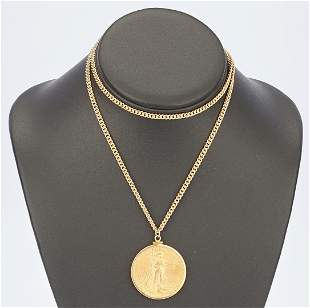 1927 $20 Saint-Gaudens Gold Coin, Mounted