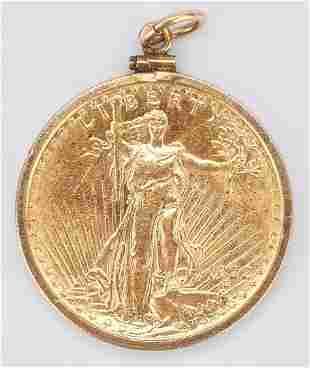 1922 $20 Saint-Gaudens Gold Coin, Mounted