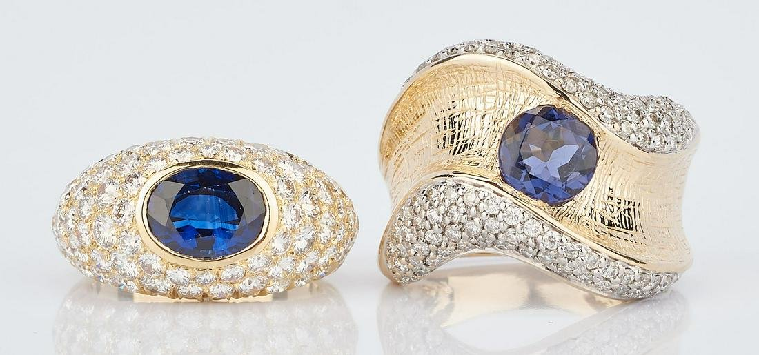 2 Ladies Gold & Sapphire Rings