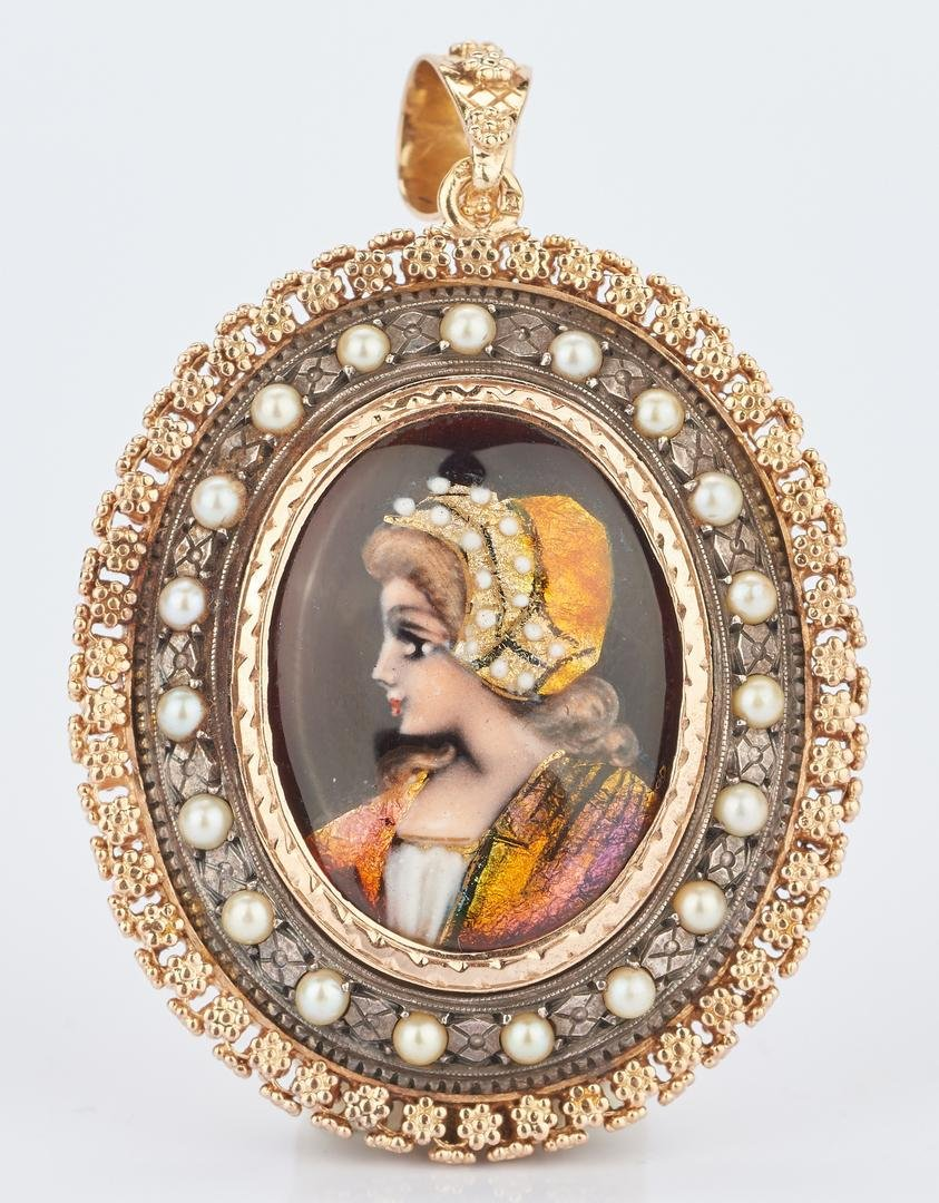 18K Yellow Gold Enameled Portrait Pendant