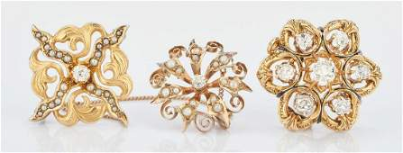 3 Victorian Gold  Diamond Ladies Pins