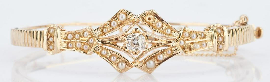 14K Victorian Diamond & Pearl Bangle Bracelet