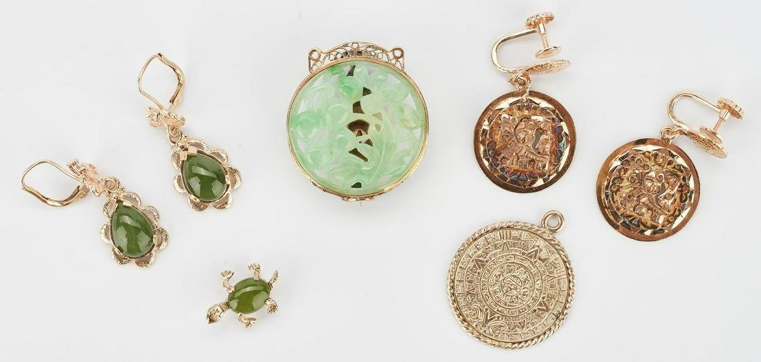 Group of 14K & Jade Jewelry Items, 7 total