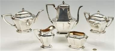 5 Pc Sterling Silver Tea Set Treasure Pattern