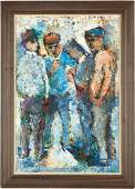 Cecil Kenneth Baker Oil on Panel, Four Workers