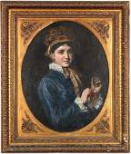 19th Cent Portrait of a Lady with a Watch