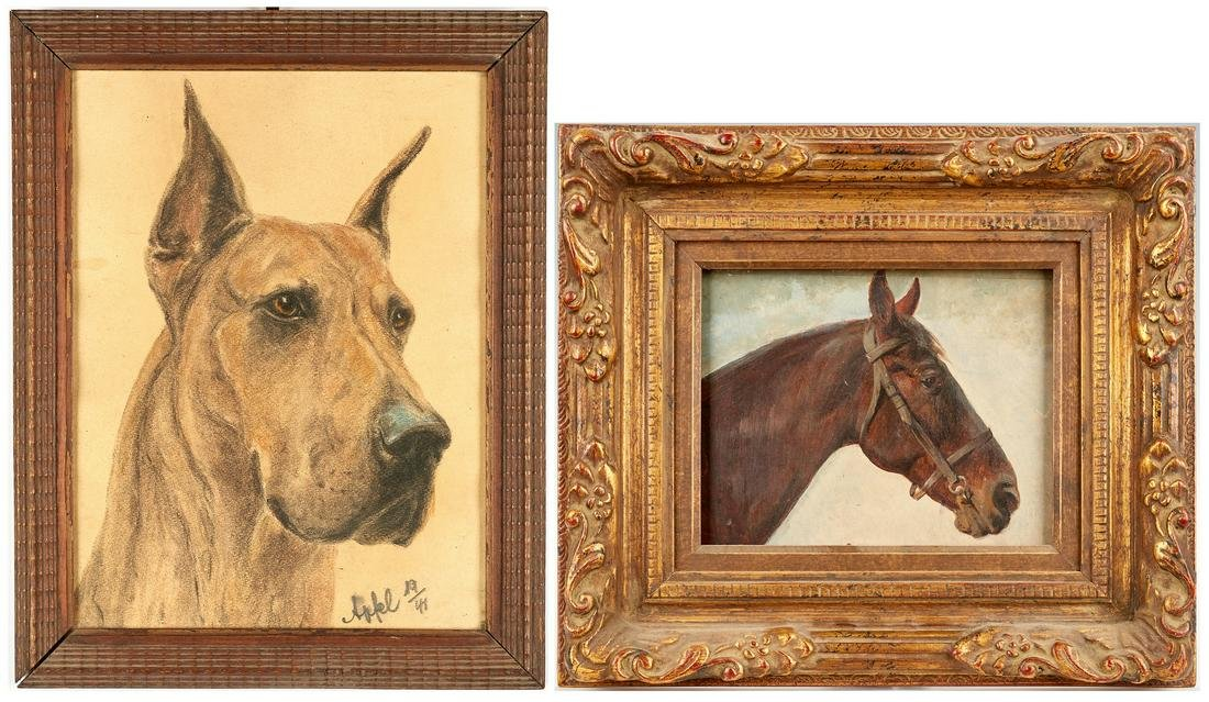 2 Animal Portraits incl. Louis Braun Oil of Horse and