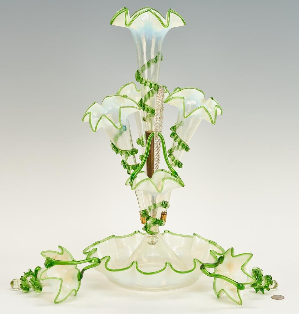 Victorian Green & Opalescent Glass Epergne w/ Baskets