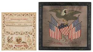 2 19th Cent. Textiles, incl. Sampler, Silk Embroidery