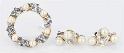 2 14K Pearl and Gemstone Items Brooch  Earrings