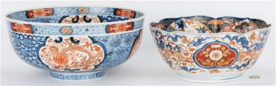 2 Large Japanese Imari Porcelain Bowls