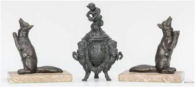 Bronze Covered Urn and Pair of Fox Bookends