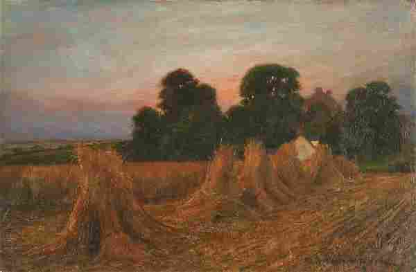 19th c. Haystack Painting, o/c, signed