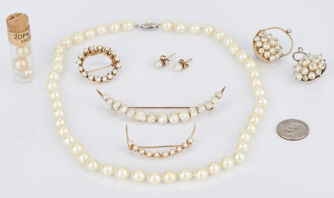 Assorted Group of 14K Pearl Jewelry Items