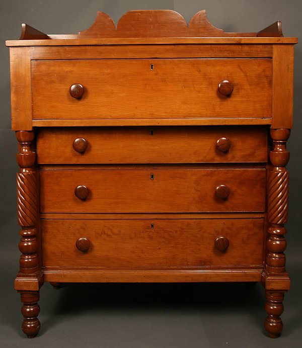13: Late Sheraton/Classical  TN cherry chest w/ gallery