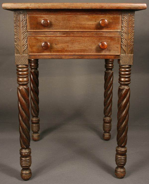 22: Southern two drawer table, acanthus leaf carving