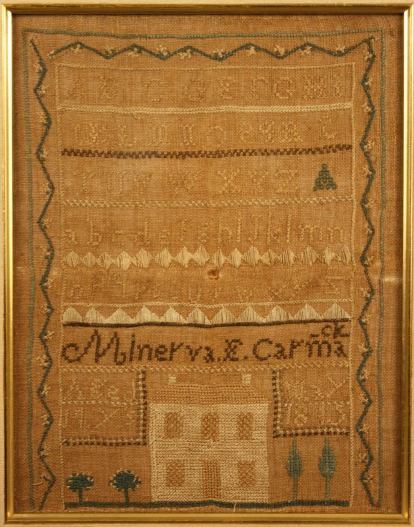 57: East Tennessee house sampler,  Minerva Carmack 1845