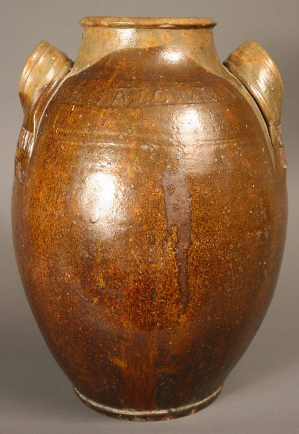 64: Rare marked East Tennessee redware jar. J.  A. Lowe