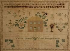 136: Rare 1826 Patriotic Sampler, Lancaster Co. PA