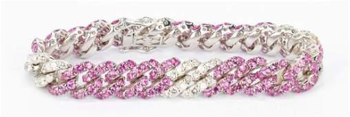 Ladies 18K Pink Sapphire & Diamond Link Bracelet