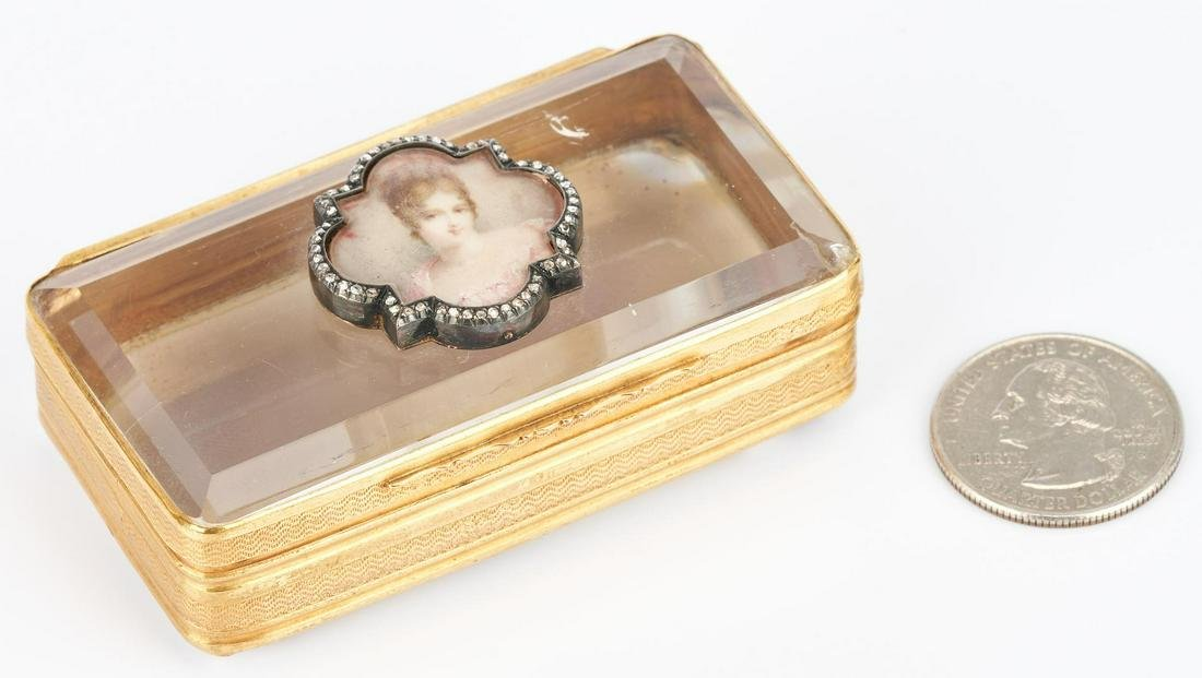 14K Gold, Diamond, and Quartz Snuff or Pill Box