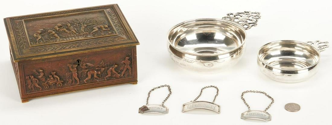 Bronze Box, 2 Sterling Porringers and 3 Liquor Tags