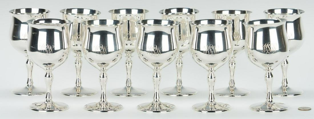 Set of 11 Reed & Barton Sterling Goblets