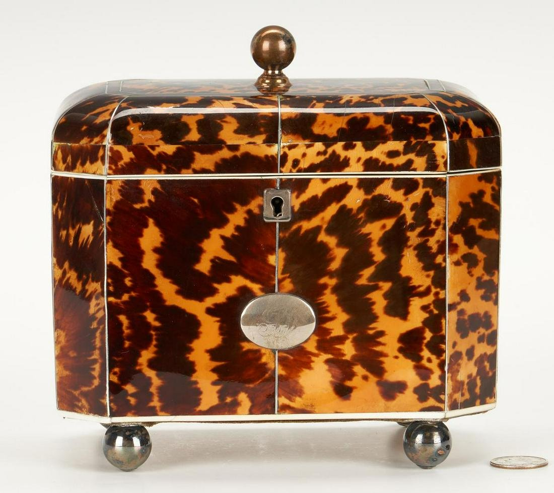 Regency Tortoiseshell Tea Caddy, Silver Inlay