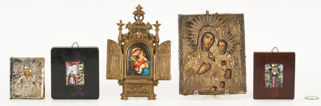 5 Small Religious Paintings, incl. Icons
