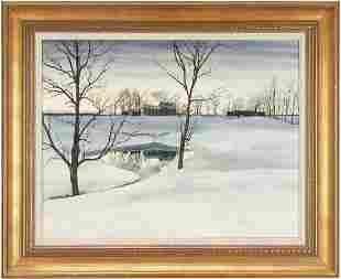John Chumley Winter Landscape Watercolor
