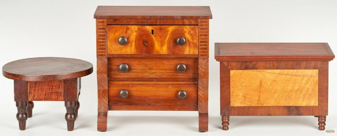 Miniature Chests and Table, incl. Birdseye and Tiger