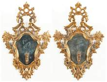 Pr. Italian Gilt Carved Mirrored Candle Sconces