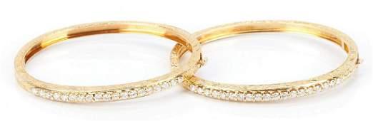 2 14K Gold and Diamond Bracelets