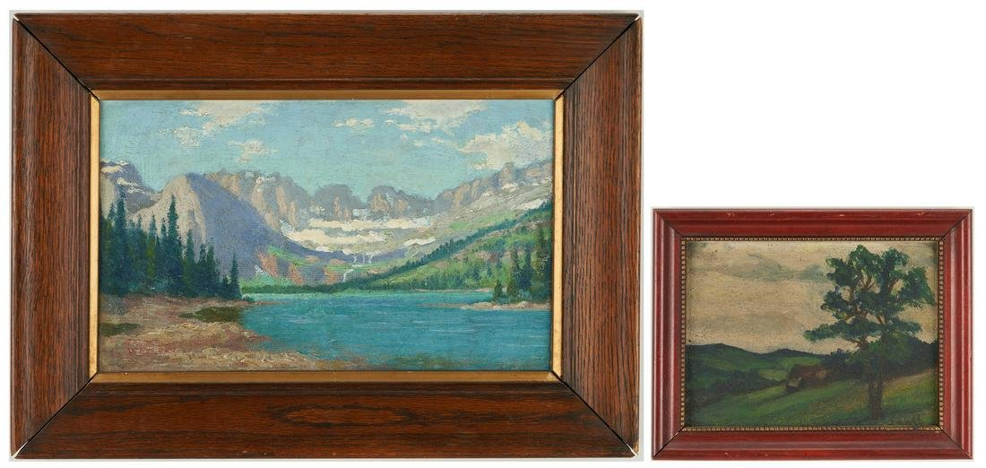 2 Small Landscape Paintings, incl. Frederick Weygold
