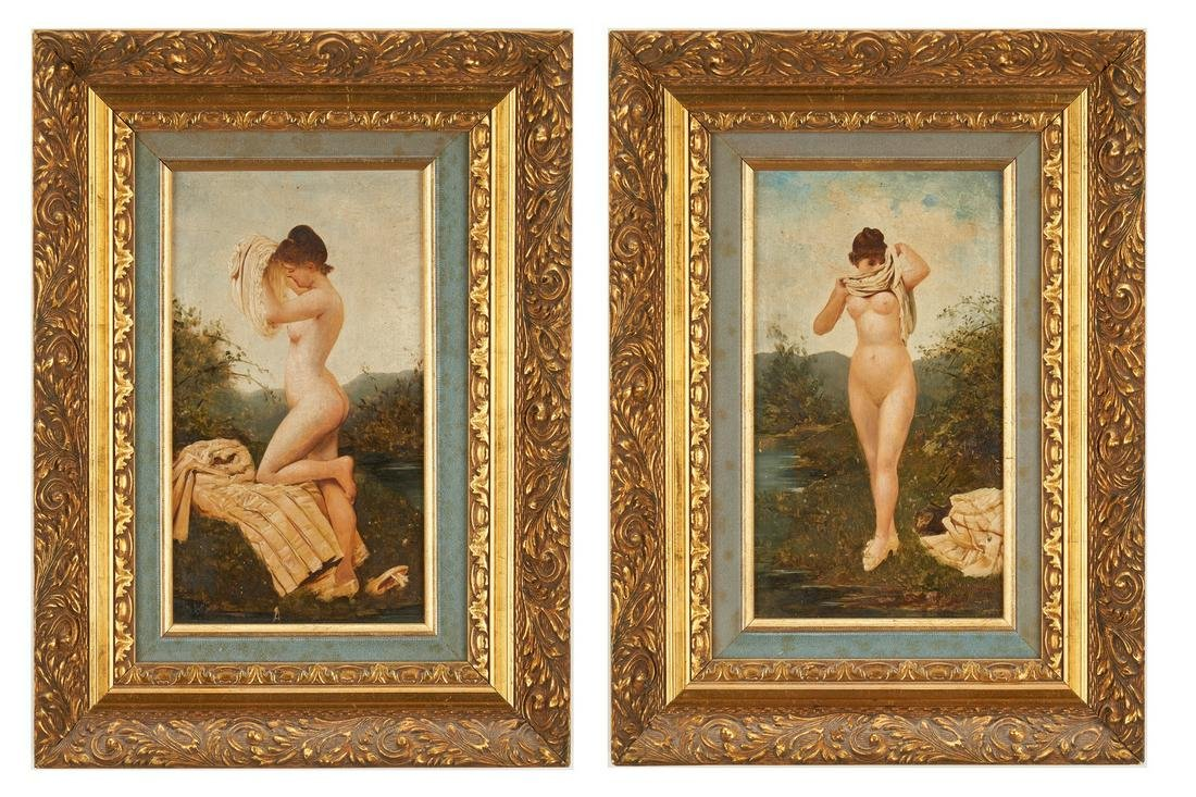 2 Adolphe Frederic Lejeune O/P Nude Paintings