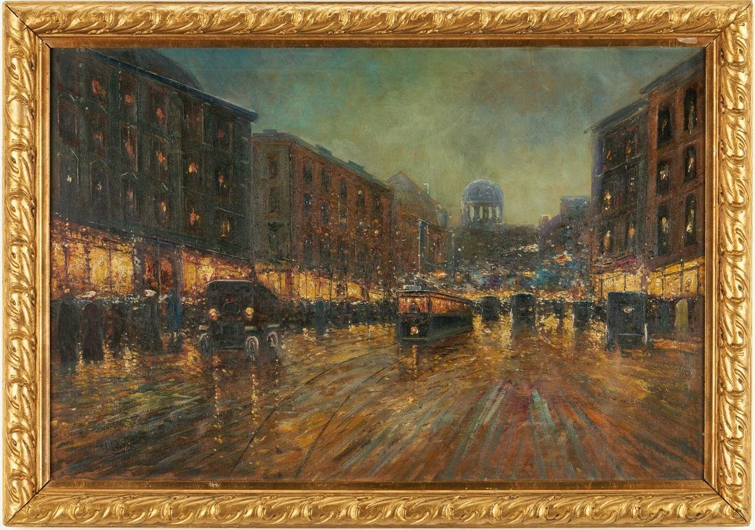 Early 20th c. Parisian O/C Street Scene, Signed