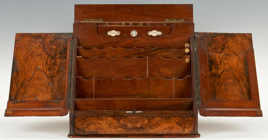 19th C. Burlwood Stationery or Letter Box