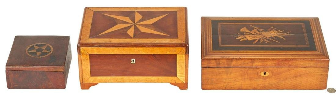3 Boxes with Inlaid Tops, incl. Lap Desk