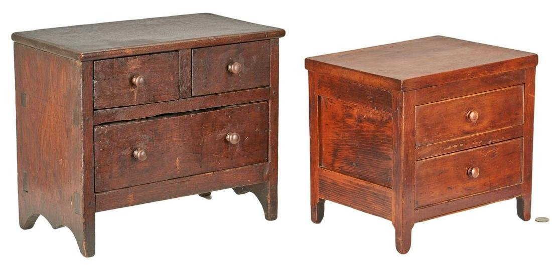 2 Miniature Chests of Drawers, incl. Signed