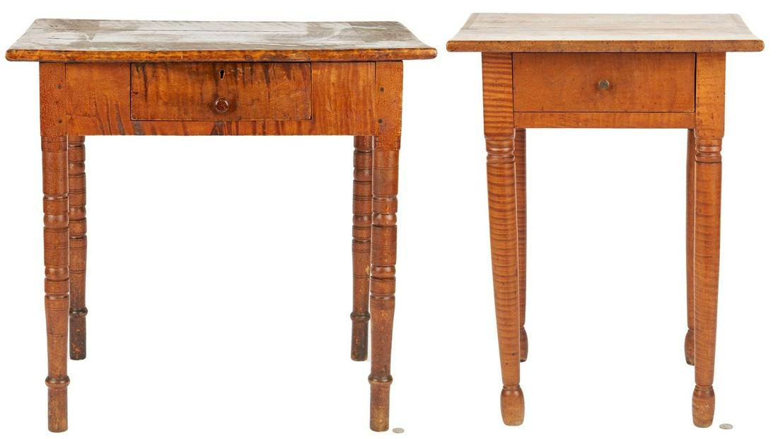 2 Tiger Maple Tables, incl. East Tennessee
