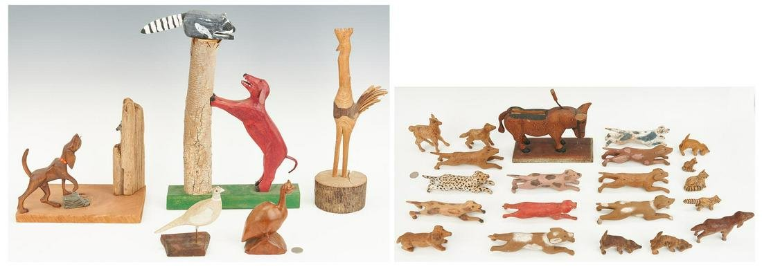 26 Folk Art Animal Wood Carvings