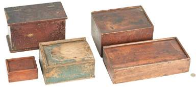 5 Wooden Storage Boxes, incl. Painted Candle Box