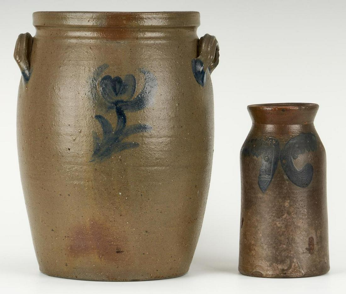 Charles Decker Stoneware Crock & S. Bell Jar