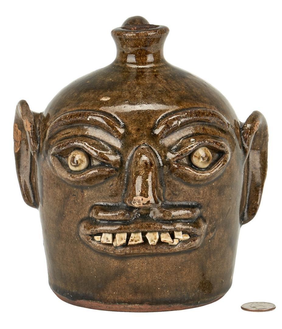 NC Southern Pottery Face Jug, H. F. Reinhardt