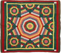 American Pieced Cotton Quilt Star of Bethlehem
