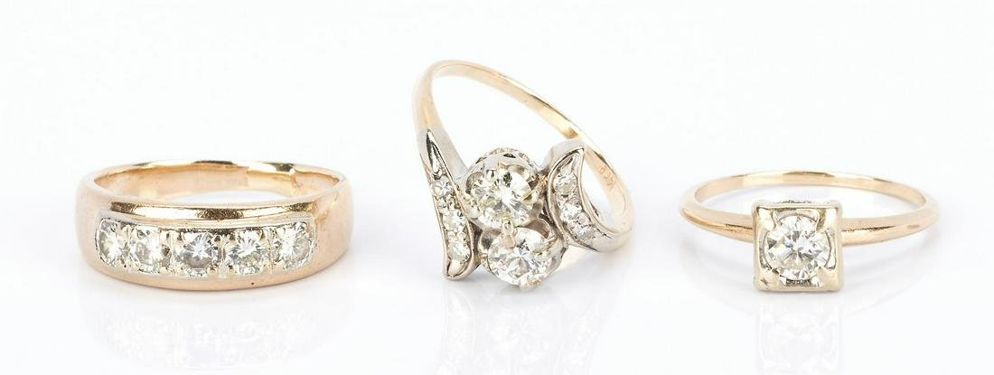 3 Ladies 14K Gold and Diamond Rings