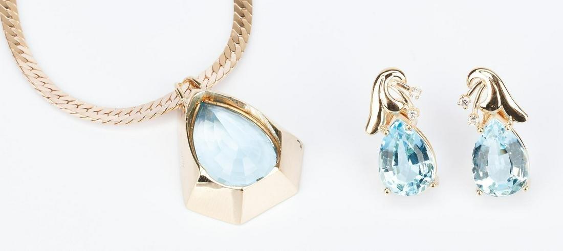 Ladies 14K Topaz Necklace & Topaz and Diamond Earrings